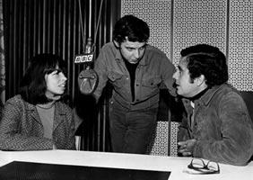 Nara Leão, Cacá Diegues e Guilherme Araújo, estúdios da BBC de Londres, 1969